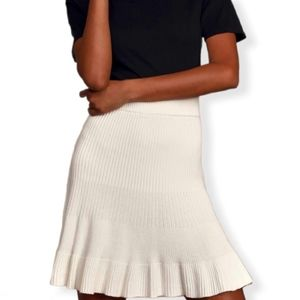 Free People Solid Gold Ribbed Knit Skirt Cream NWT